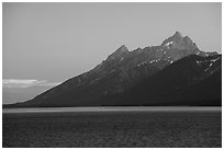 Grand Teton from Jackson Lake, dusk. Grand Teton National Park ( black and white)