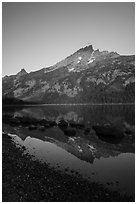 Tetons reflected in Jenny Lake, sunrise. Grand Teton National Park ( black and white)