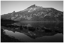 Grand Teton reflected in Jenny Lake. Grand Teton National Park ( black and white)