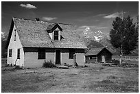 Pioneer buildings, Mormon Row. Grand Teton National Park ( black and white)
