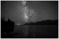 Milky Way and Teton Range above Jackson Lake. Grand Teton National Park ( black and white)