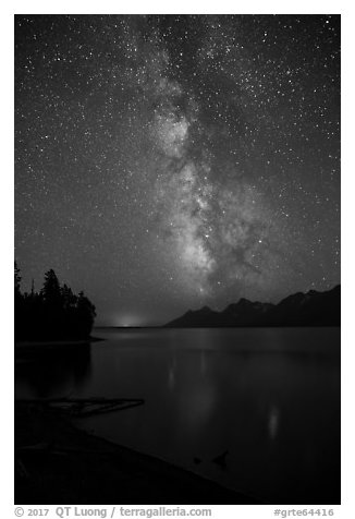 Milky Way and Teton Range from Jackson Lake at night. Grand Teton National Park (black and white)