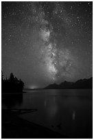 Milky Way and Teton Range from Jackson Lake at night. Grand Teton National Park ( black and white)