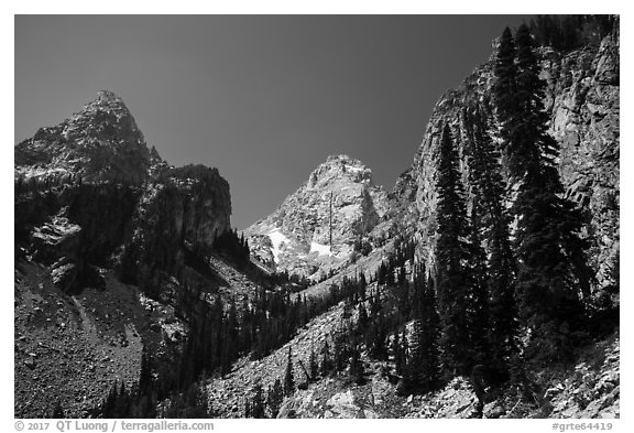 Garnet Canyon with Nez Perce and Middle Teton. Grand Teton National Park (black and white)