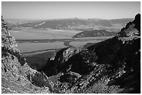 Garnet Canyon and Jackson Hole. Grand Teton National Park ( black and white)