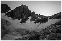 Mountaineer, Middle Teton and glacier. Grand Teton National Park ( black and white)