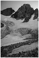 Glacier below Middle Teton. Grand Teton National Park ( black and white)