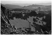 Alaska Basin ridges from Lower Saddle. Grand Teton National Park ( black and white)