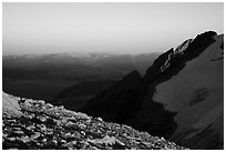 Looking east from Lower Saddle at sunset. Grand Teton National Park ( black and white)