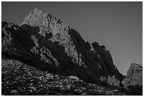 Grand Teton from Lower Saddle at sunset. Grand Teton National Park ( black and white)