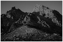 Grand Teton and Upper Saddle at sunset. Grand Teton National Park ( black and white)