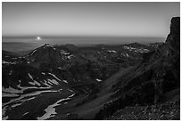 Sunset from Lower Saddle. Grand Teton National Park ( black and white)