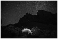 Camp at Lower Saddle and Grand Teton at night. Grand Teton National Park ( black and white)