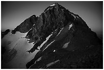 Middle Teton at night, with lights from climbers approaching. Grand Teton National Park ( black and white)