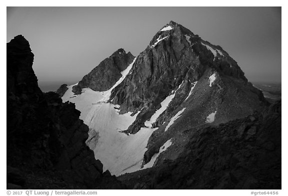 Middle Teton seen from Grand Teton, dawn. Grand Teton National Park (black and white)