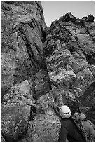 Climbers start Exum Direct route on Grand Teton. Grand Teton National Park ( black and white)