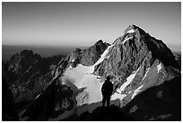Mountaineer sihouette in front of Middle Teton. Grand Teton National Park ( black and white)