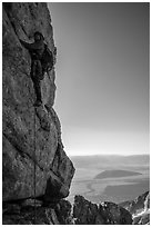 Climber leading Exum Direct route on Grand Teton. Grand Teton National Park ( black and white)