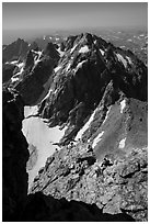 Climbers on Upper Exum Ridge, Grand Teton. Grand Teton National Park ( black and white)