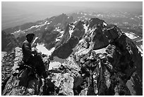 Climber handling rope on Upper Exum Ridge, Grand Teton. Grand Teton National Park ( black and white)
