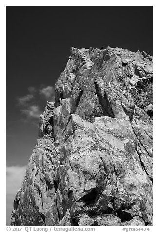 Summit of Grand Teton from Upper Exum Ridge. Grand Teton National Park (black and white)