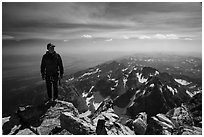 Climber standing on summit of Grand Teton. Grand Teton National Park ( black and white)