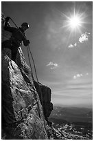Climber preparing for rappel on Grand Teton. Grand Teton National Park ( black and white)