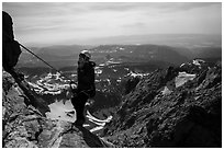 Woman climber rappels from Grand Teton. Grand Teton National Park ( black and white)