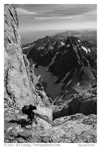 Descending Grand Teton towards Lower Saddle. Grand Teton National Park (black and white)