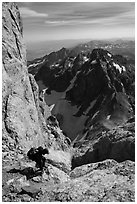 Descending Grand Teton towards Lower Saddle. Grand Teton National Park ( black and white)