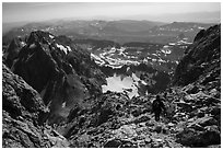 Mountaineer descending Grand Teton. Grand Teton National Park ( black and white)