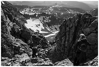 Climbers descend Grand Teton. Grand Teton National Park ( black and white)