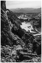 Climbers descending Grand Teton. Grand Teton National Park ( black and white)