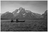 Kakayers in Colter Bay with Mt Moran in background. Grand Teton National Park ( black and white)