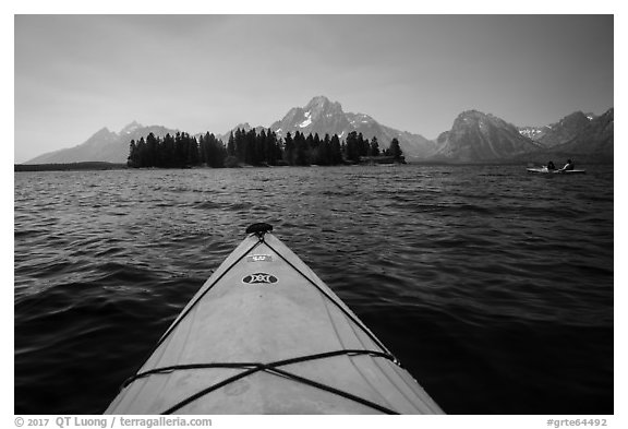 Kayak pointing at island in Colter Bay. Grand Teton National Park (black and white)