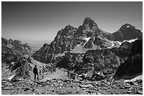 Visitor looking, Tetons from near Table Mountain. Grand Teton National Park ( black and white)