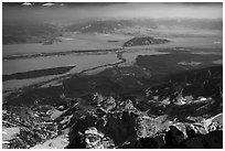 Jackson Hole from  from Grand Teton. Grand Teton National Park ( black and white)