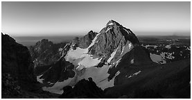 Middle Teton and Lower Saddle from Grand Teton, sunrise. Grand Teton National Park (Panoramic black and white)