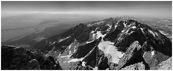 Jackson Hole and Tetons from Grand Teton. Grand Teton National Park (Panoramic black and white)