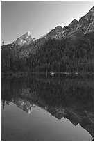 Leigh Lake with Tetons reflected, sunset. Grand Teton National Park ( black and white)