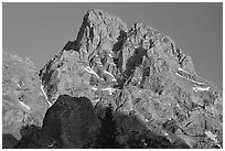 Tetons summit at sunset seen from the North. Grand Teton National Park, Wyoming, USA. (black and white)