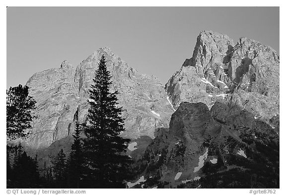 Mt Owen and Tetons at sunset seen from the North. Grand Teton National Park (black and white)