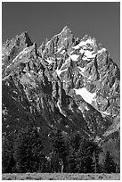 Rocky peaks of Cathedral group, morning. Grand Teton National Park, Wyoming, USA. (black and white)