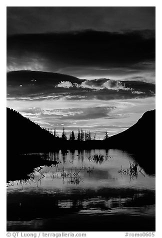 Sunrise with colorful clouds reflected on a pond in Horseshoe park. Rocky Mountain National Park (black and white)