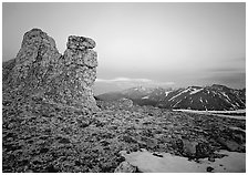 Rock Cut at dusk. Rocky Mountain National Park, Colorado, USA. (black and white)