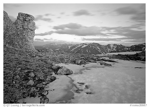 Rock tower and neve at sunset, Rock Cut. Rocky Mountain National Park (black and white)