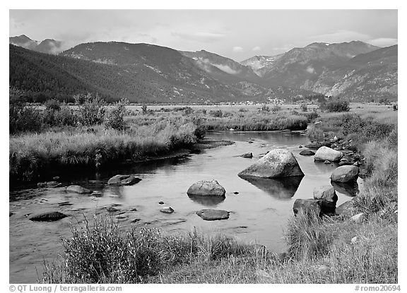 Creek, boulders, and meadow surrounded by mountains, autum. Rocky Mountain National Park (black and white)