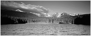 Lake with waves and mountains. Rocky Mountain National Park (Panoramic black and white)