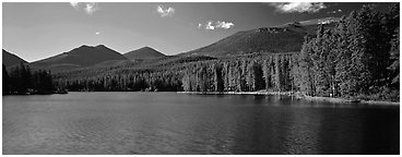 Clear lake with forested shores. Rocky Mountain National Park (Panoramic black and white)