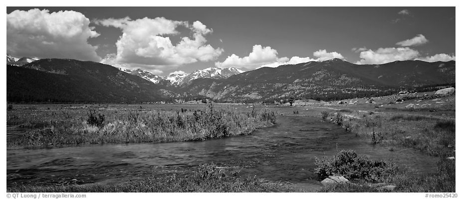 Mountain scenery with green meadows and stream. Rocky Mountain National Park (black and white)